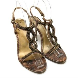 Carlos Santana Shackled Bronze Heeled Sandals